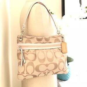Coach Glam pink and tan glam canvas messenger